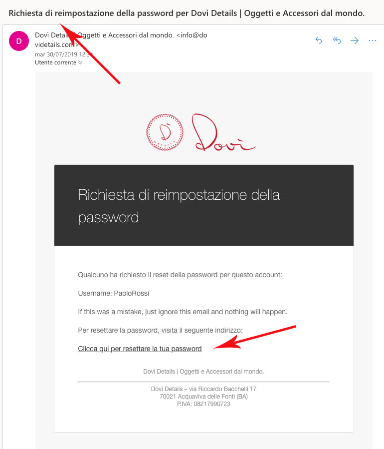 Recovery Password su Dovì - Step 5