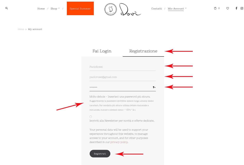Registrazione su Dovì - Step 2