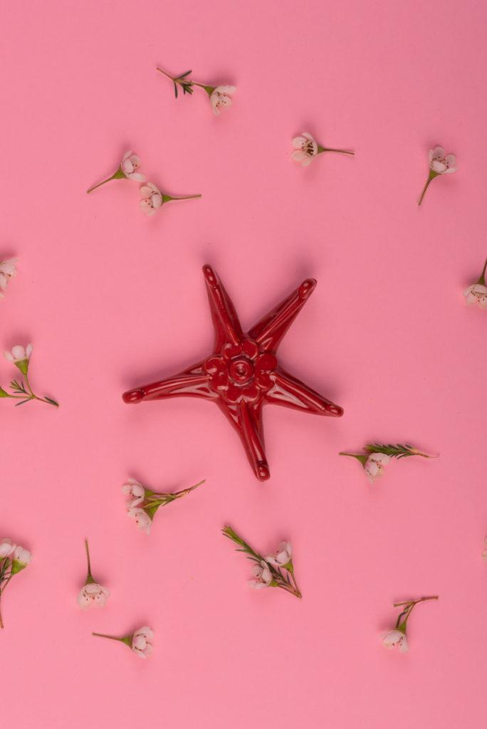 Stella marina rossa in ceramica di Grottaglie handmade