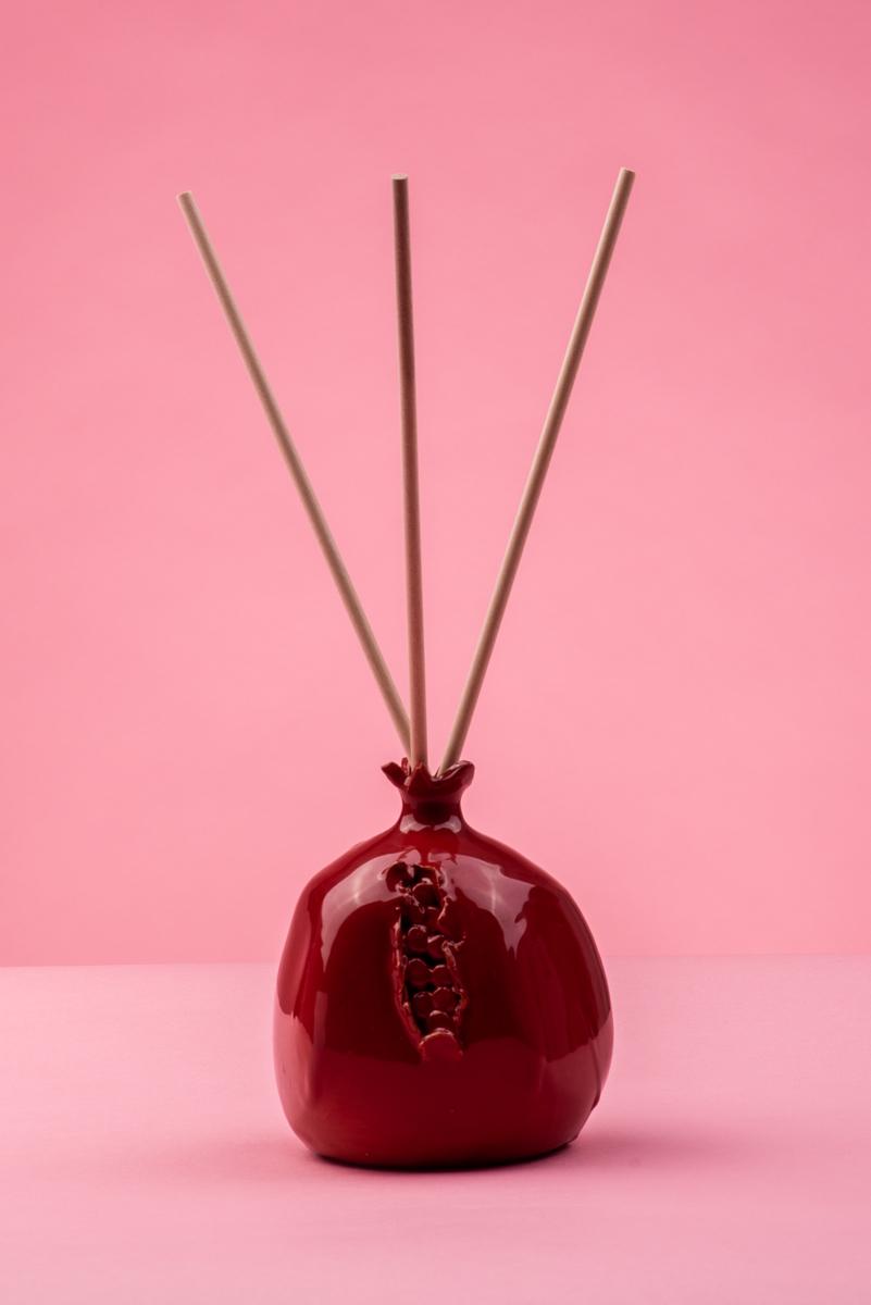 Profumatore per ambiente melograno in ceramica rossa di Grottaglie handmade