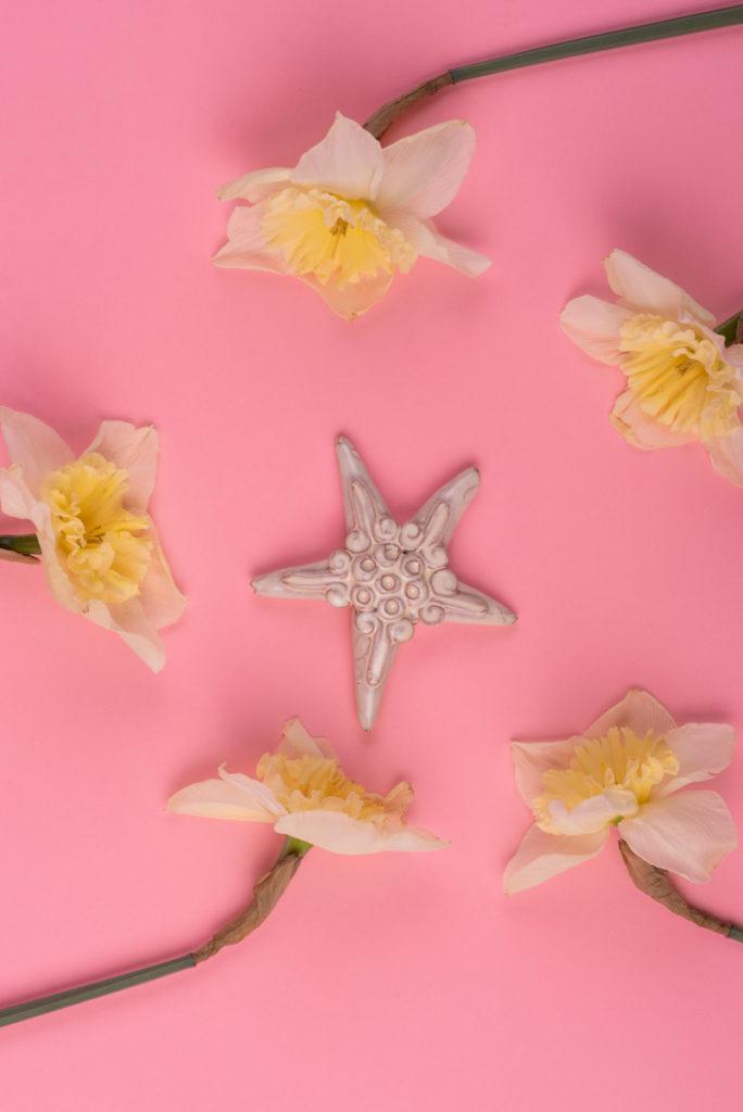 Stella marina bianca in ceramica di Grottaglie handmade