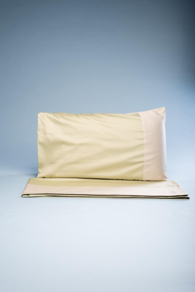 Completo letto matrimoniale verde e corda in rasatello di cotone made in Puglia Lenzuolo di sopra 270 x 290 cm, lenzuolo di sotto con elastici.