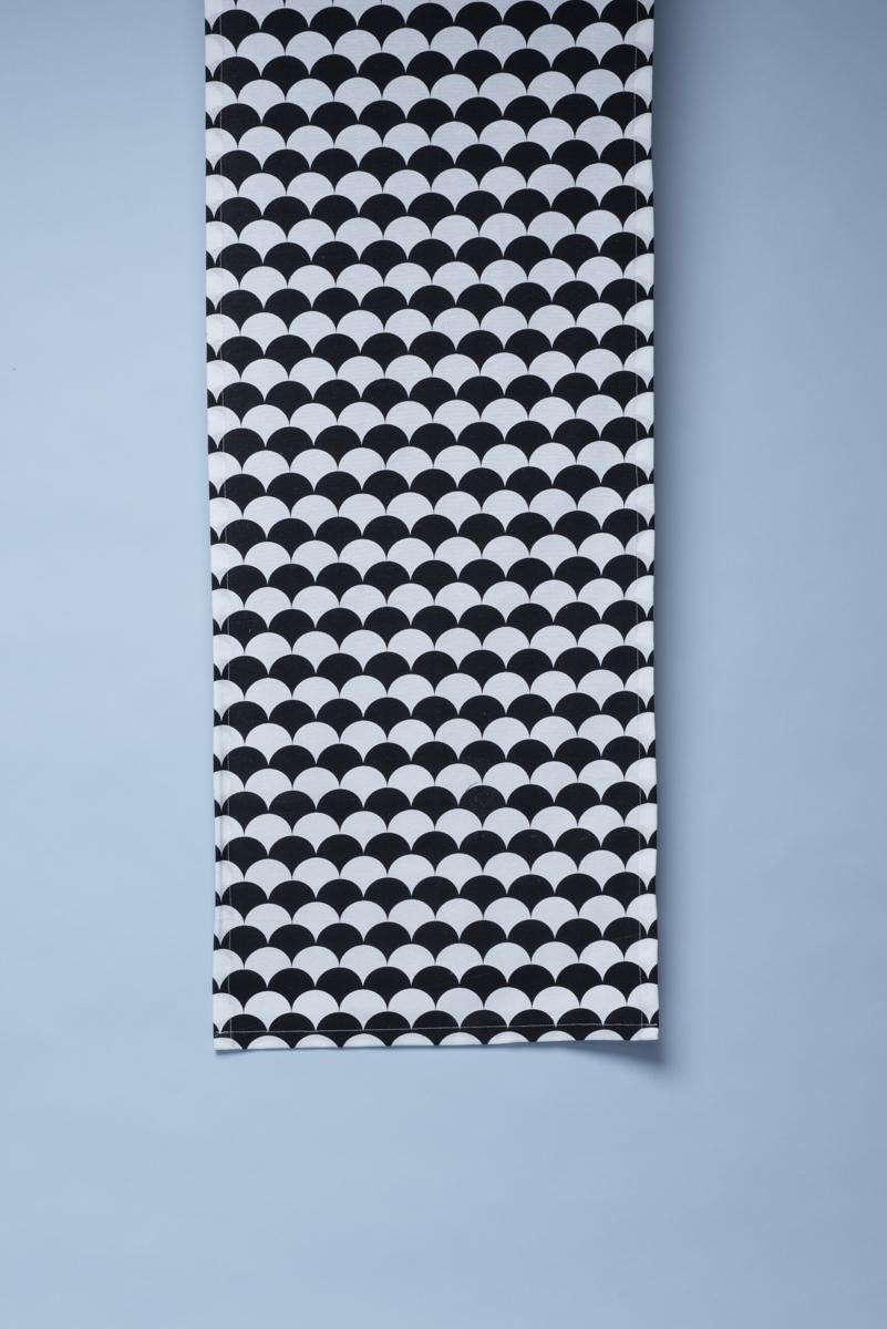 Runner fantasia optical in cotone stampato black and white