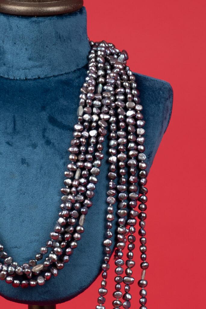 Collana multifili vintage di perle grigie COLEMAN DOUGLAS PEARLS