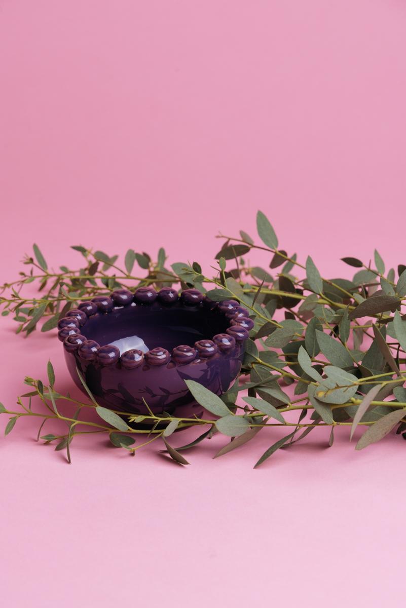 Coppetta in ceramica viola handmade di Grottaglie