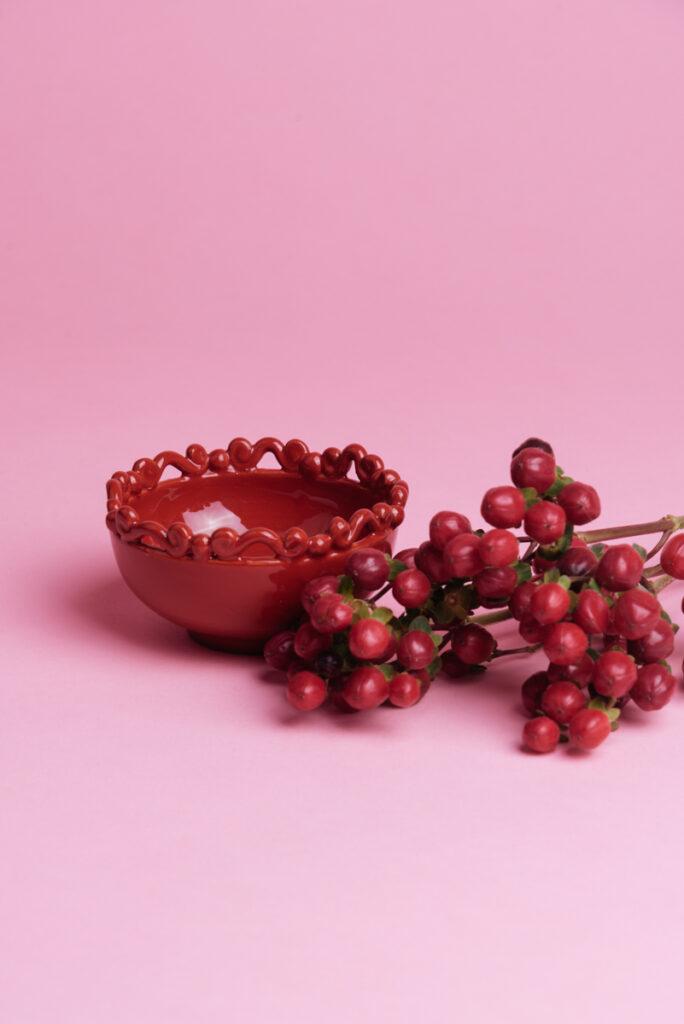 Coppetta in ceramica rossa handmade di Grottaglie