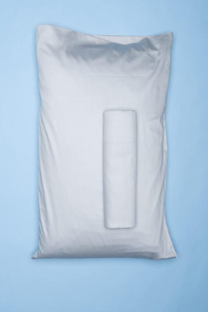 Dovi | completo letto singolo in rasatello di cotone grigio chiaro