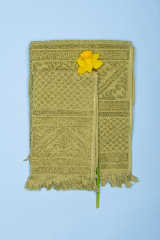 Dovi Details | coppia di asciugamani in spugna verde mandorla