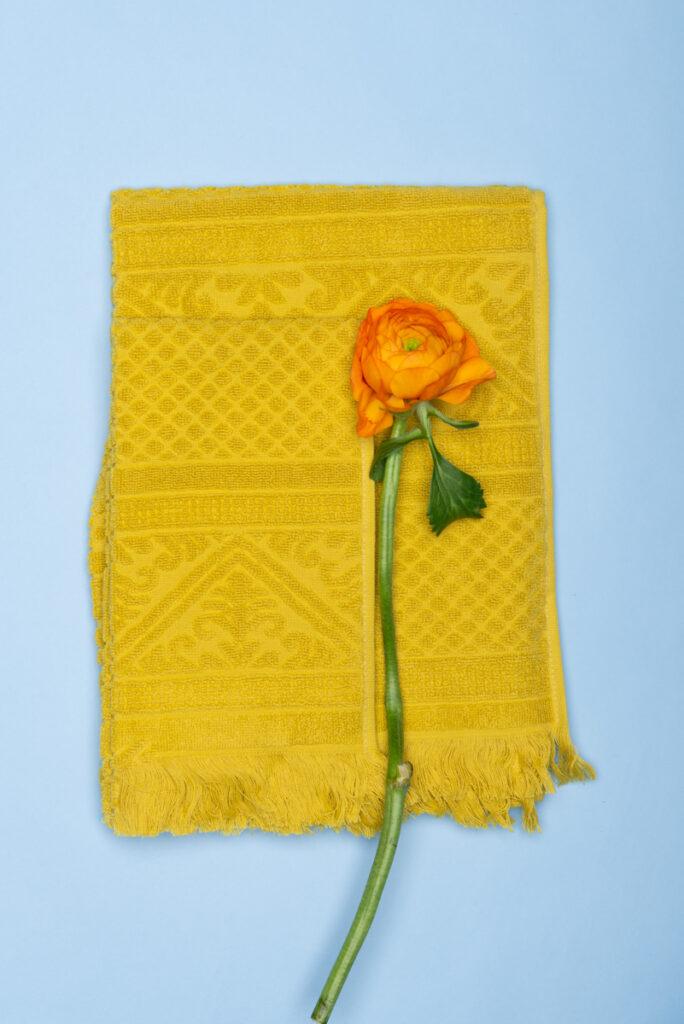 Dovi Details| coppia asciugamani in spugna verde acido